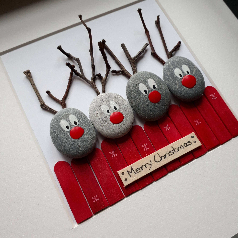 Rentier Bild Rentier Pebble Kunst Pebble Weihnachtsbild | Etsy