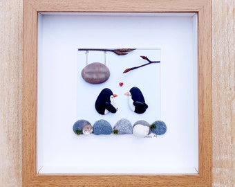 Engagement gift, Proposal picture, Penguins engagement present, Engagement picture gift, Engagement pebble picture, Engagement pebble frame