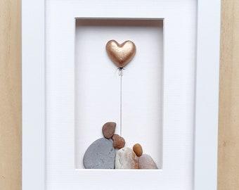 Copper anniversary family, 7th anniversary picture, Copper anniversary gift, Pebble art picture, Couple 7th anniversary gift copper heart