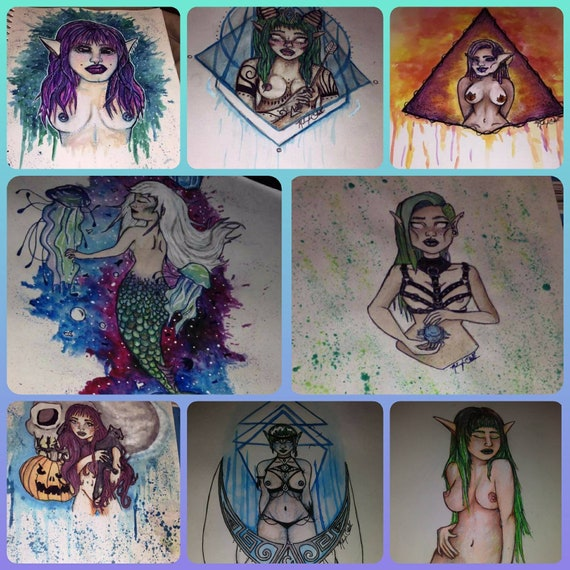 Mythological Ladies Paper Paintings