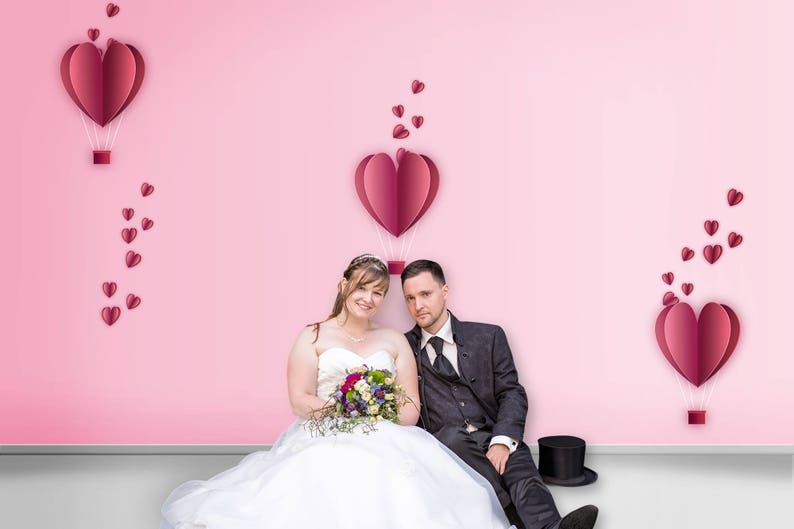 Valentine's Day Digital Backdrop - Pink - Design - Landscape - Paper heart  - Romance - Romantic - Anniversary - Engagement - Wall background