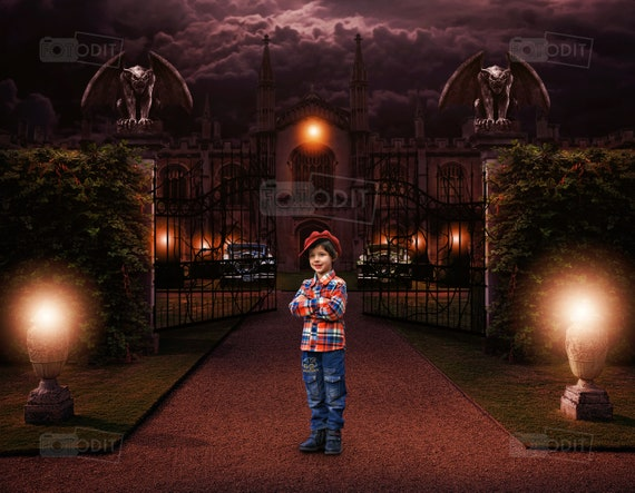 Halloween Mansion Digital backdrop , Background , Horror , Landscape ,  Photography , Creepy , Dark Sky , Gargoyles , Vines , Haunted House