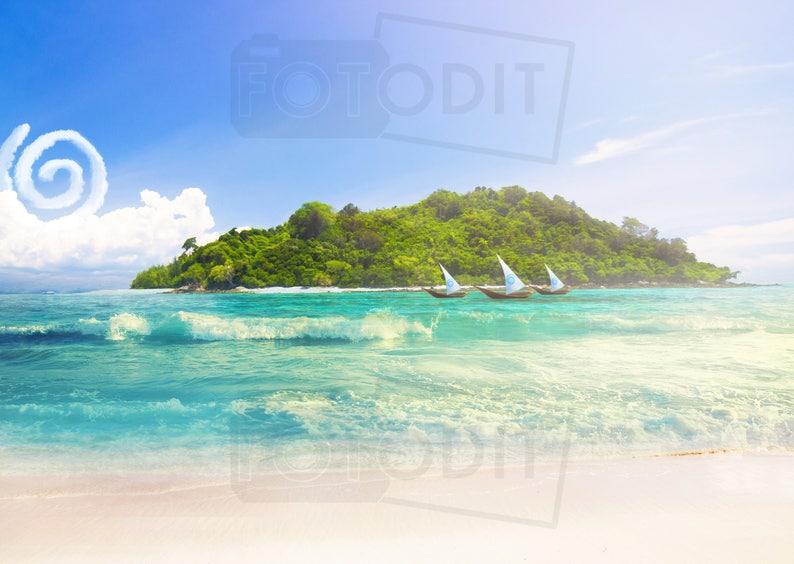 Moana Digital Background Backdrop Disney Inspired Boat Etsy