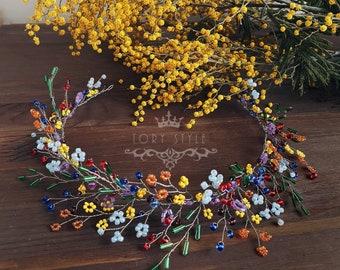 Rainbow head jewelry, rainbow tiara, LGBTQ wreath, LGBT tiara, rainbow accessories, hippie wreath,rainbow wreath, elf wreath, lgbt headpiese