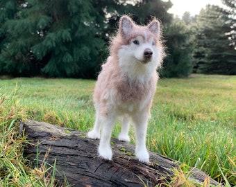 Needle felted Siberian Husky dog