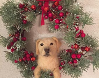 needle felted yellow lab christmas ornament, weath