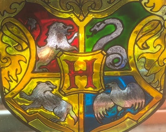 Hogwarts Harry Potter Sign - School Crest Badge Gift - Stained glass ornament