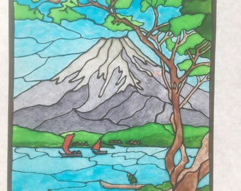 Japanese Mount Fuji Woodblock - Stained Glass Window Suncatcher - Shotei print