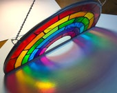 Rainbow Stained Glass Window Suncatcher - Rainbow Christmas Gift UK usa - Symbol of Hope - LGBTQ, Stay Safe Home NHS Health Care, Be Kind