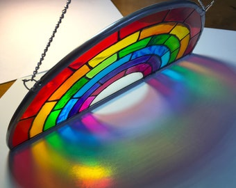 Rainbow Stained Glass Window Suncatcher - Rainbow Gift UK usa Teacher school personalised - Lockdown Symbol of Hope - LGBTQ, NHS Health Care