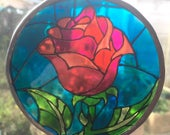 Beauty and the Beast Enchanted Rose Stained Glass Suncatcher - Disney