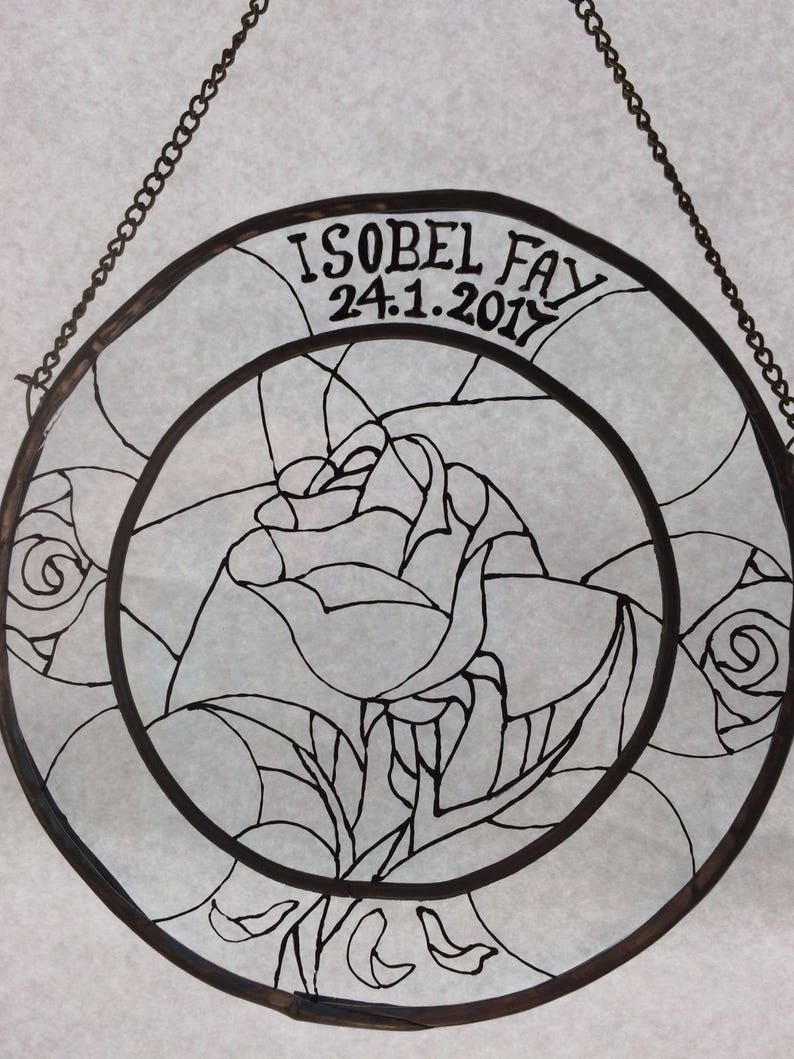 Personalised Disney Gold Beauty and the Beast Enchanted Rose Stained Glass Suncatcher Window Panel