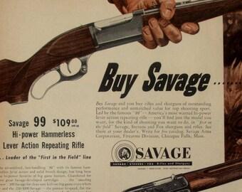 Savage Rifles & Shotguns 1953 Vintage Magazine Advert