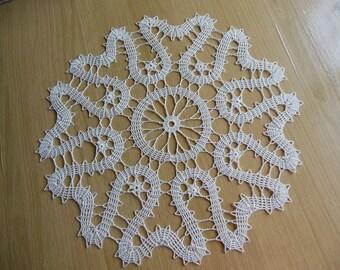 """Lunar"" round crochet doily"