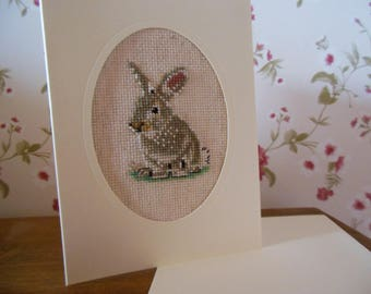My little bunny embroidered card