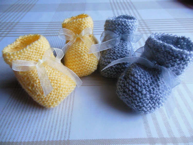 Knitted baby booties