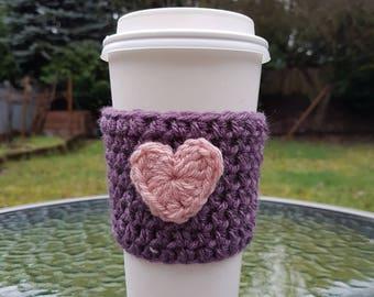 Heart Coffee Cozy, Valentine's Day Gift, Knit Coffee Sleeve, Reusable Coffee Sleeve, Knitted Coffee Cozy with Heart, Coffee Cozy, Handmade