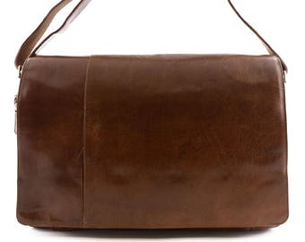 Genuine Leather Messenger Bag 2 front pockets