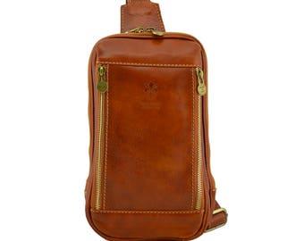 Genuine Leather Mono-Shoulder Bag for Man