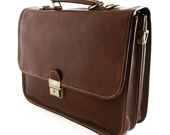 Genuine Leather Business Briefcase with 2 Compartments