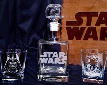 Star Wars Whiskey Glasses decanter Set gift for christmas Yoda Darth Vader R2-D2 Gift for men Whiskey decanter glass set Xmas gift