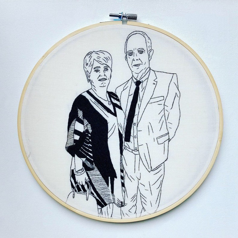 Large custom embroidered portrait line drawing, embroidery hoop art,  personalised gift, embroidery portrait, unique gift, custom gift