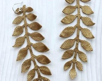 Gold Earrings, Long Earrings, Leaf Earrings, Flower Earrings, Dangle Earrings, Leather Earrings, RG Leather Art, Glimmer, Beige, Statement
