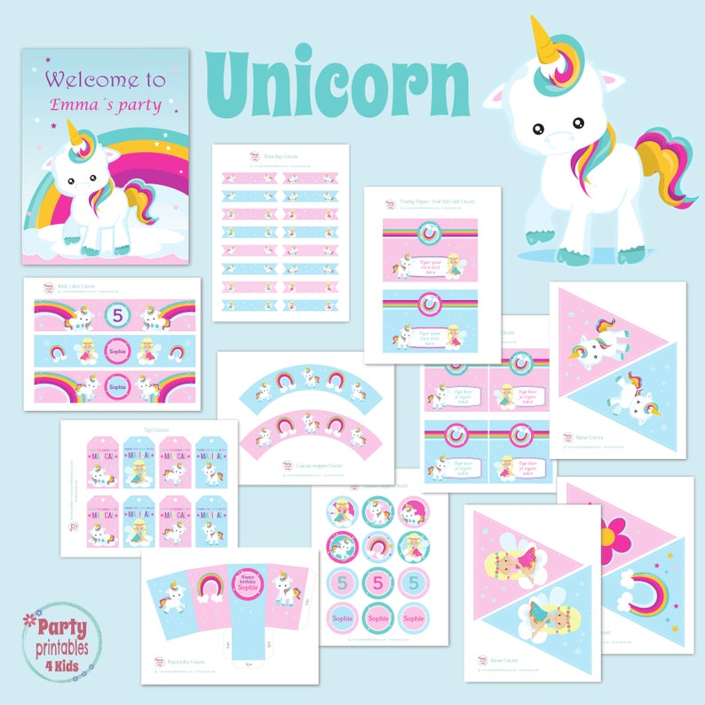 Unicorn Party Pack, Unicorn Birthday Party Decoration, Full Package,  Printable PDF, Editable File, Personalize at home with Adobe Reader