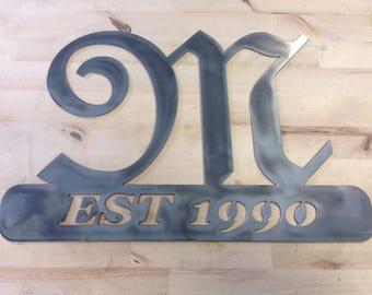 Custom Metal Monogram Established Sign