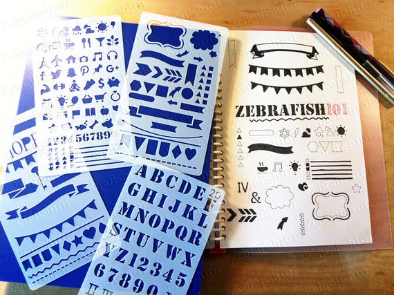 Bullet Journal Essential Stencil Set Set of 4 banner alphabet shape icon etc