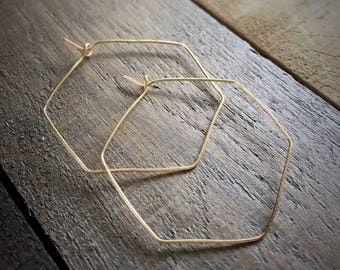 Gold Hexagon Hoop Earrings / Hammered Hoop Earrings  / Thin Gold Hoop Earrings / Lightweight Hoop Earrings / Hexagon Hoops