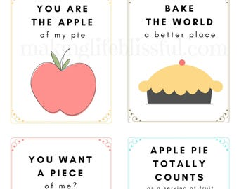 Farmhouse Style Kitchen Quotes and Cards Printable Bundle for Pie Night, Apple Pie Prints, Kitchen Art, Pie Party