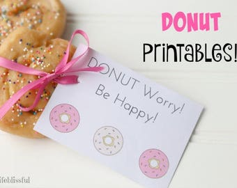 Donut Party Printable Gift Tag, Doughnut Valentines, Donut Party Favor Printable