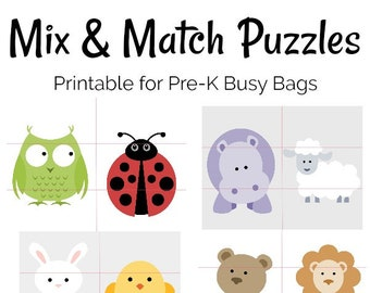Pre-K Animal Mix and Match Printable Puzzles for Preschool and Busy Bags