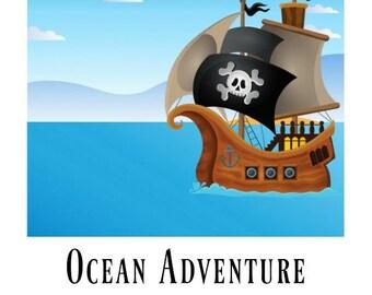 Ocean Adventure Playdough Mat Printable, Pirate Printable Playmat, Ocean Sticker Scene for Kids, Ocean Pirate Sea Printables