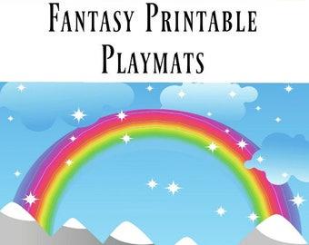 Fantasy Nature Printable Playdough Mats for Kids, Fairy Printable Scenes, Sticker Scenes Printable