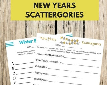 Printable Scattergories Winter and New Years