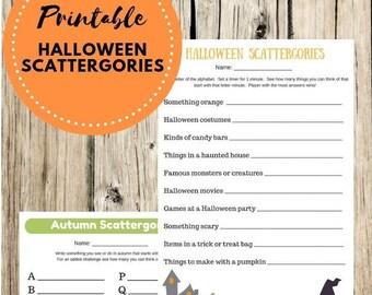 Halloween Scattergories, Halloween Party Game Printable, Fall Scattergories Game, Kids Scattergories Game