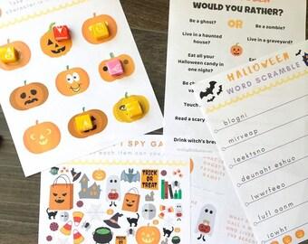 5 Halloween Games for Kids, Printable Halloween Games, Halloween Preschool Activity