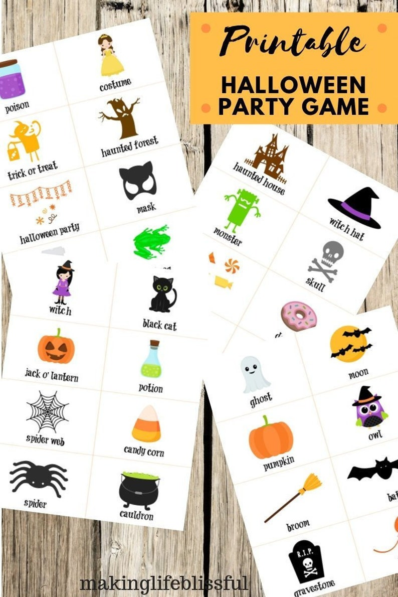 picture about Hedbanz Cards Printable named Halloween Guessing Activity Printable