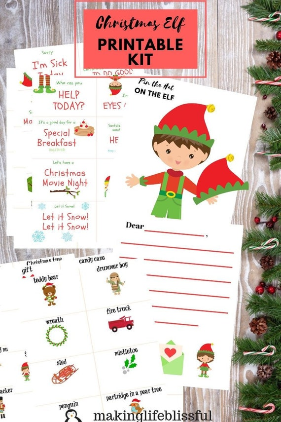 picture relating to Christmas Printable Activities identified as Elf Xmas Game Package Printables