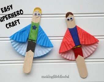 Superhero Craft Kit for Kids, Popsicle Stick Craft Kit