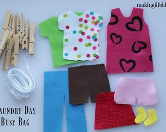 Preschool Felt Laundry Busy Bag for Kids, Quiet Activity, Role Playing for Kids