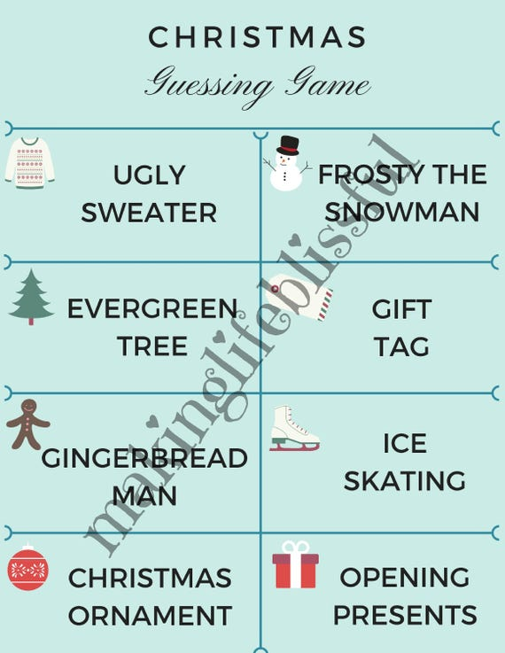 Christmas Printable Guessing Game Cards For Charades Or Etsy