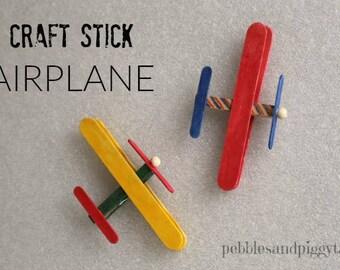Kids Craft Stick Airplane Kits, build a model airplane craft kit, retro airplane