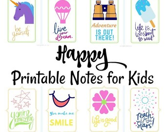 Positive Printable Notes for Kids, Happy Lunch Box Notes for Girls and Boys