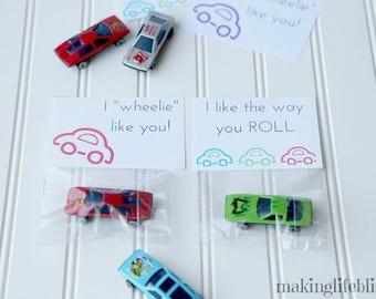 Printable CAR Cards, Car Party Favor Printable for Kids