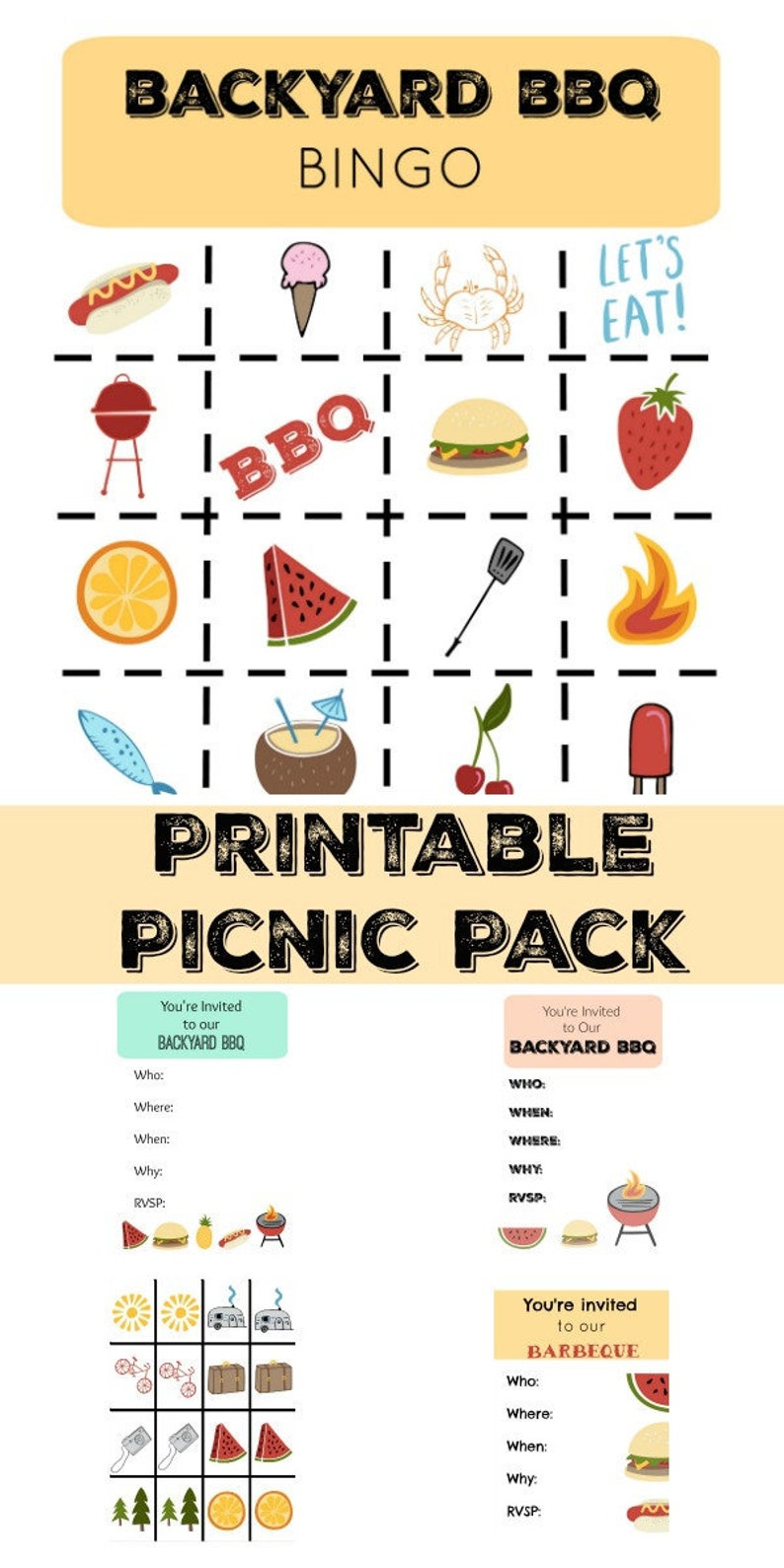 Printable Picnic Game Pack with Summer Bingo, Summer Memory Game, and BBQ  Invitations