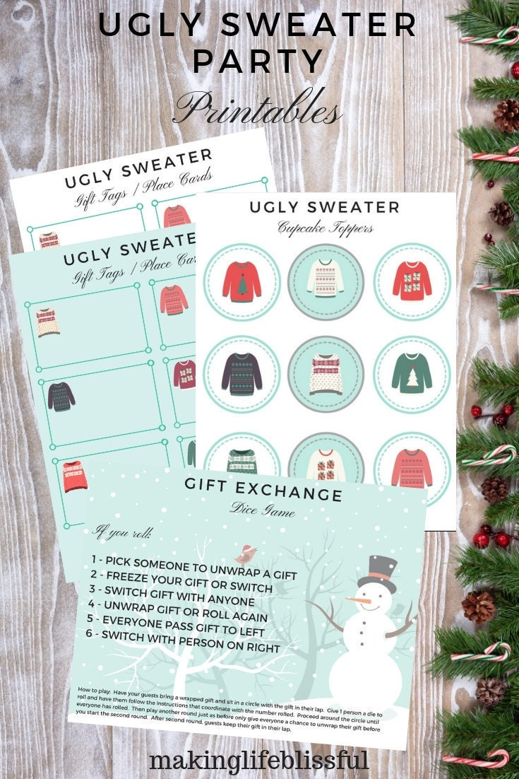 Ugly Christmas Sweater Party Printables and Gift Exchange Game | Etsy