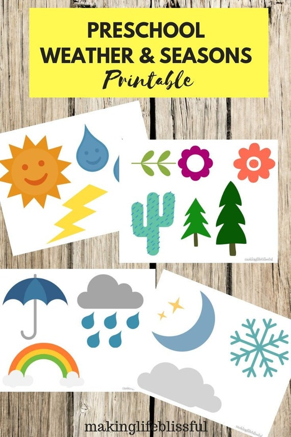 picture regarding Season Printable identified as Preschool Temperature and Seasons Printables for Youngsters